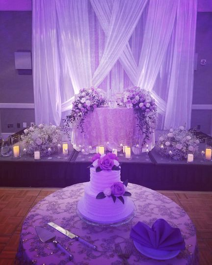 Sweetheart table and cake display
