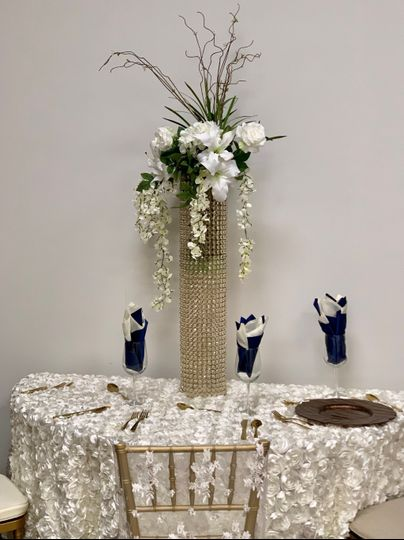 Rosette & Crystal Centerpiece