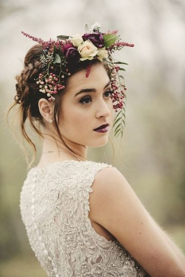 Bride in a lace dress and flower crown