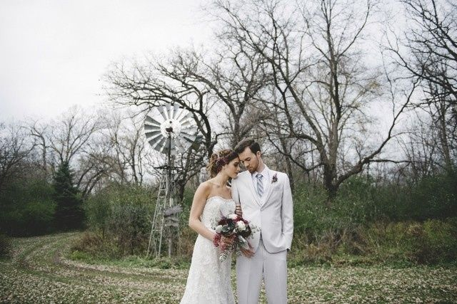 Newlywed couple in the woods