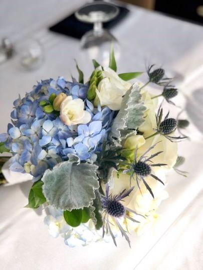 Blue floral table centerpiece