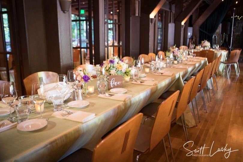 Rustic venue, elegant tables