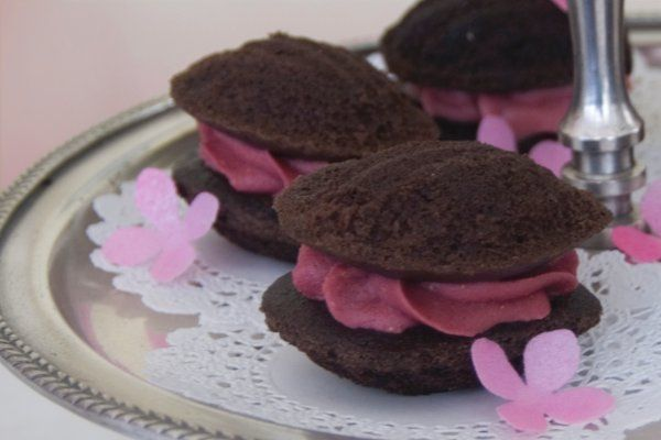 This is our Chocolate Raspberry Whoopie.  The rich frosting is made with dried French raspberries.