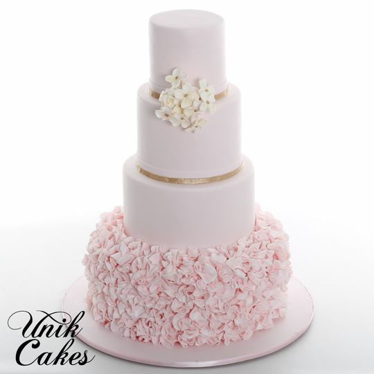 Wedding cake with soft pink layer