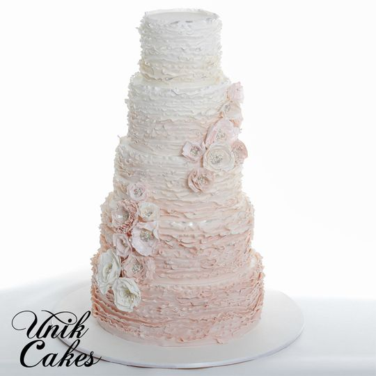 Wedding cake with soft pink layers