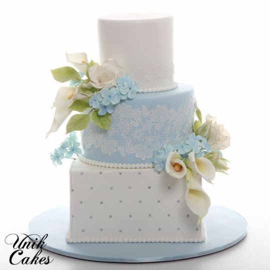 Wedding cake with a soft blue layer