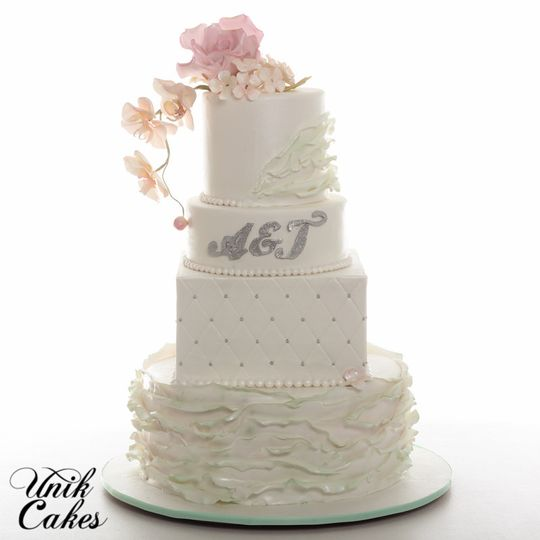 Wedding cake with silver bits