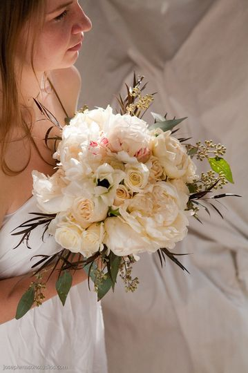 Tucked into this all white bouquet were Eskimo Anemones
