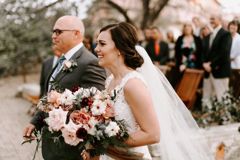 Bride walking with Dad down aisle