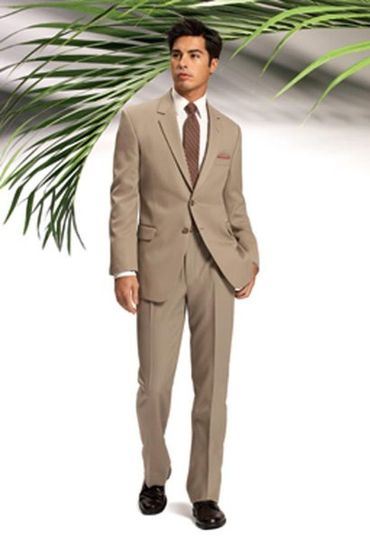 Catalina Tan Suit  with notch lapel and 2 buttons by After Six