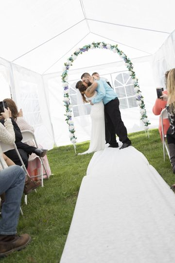 Newly wed's first kiss