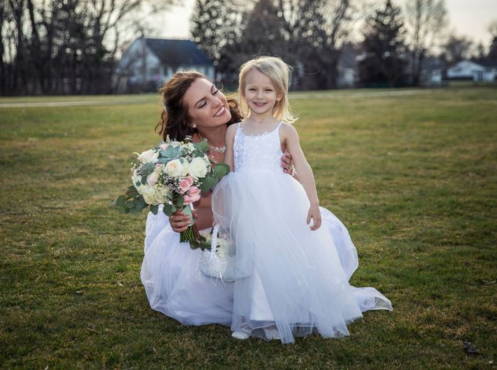 Gorgeous bride and flower girl