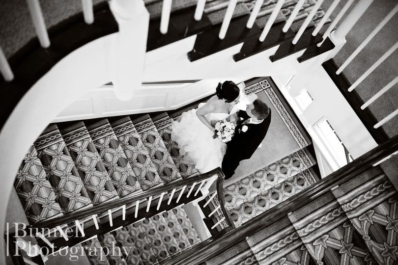 Couple's portrait on the staircase