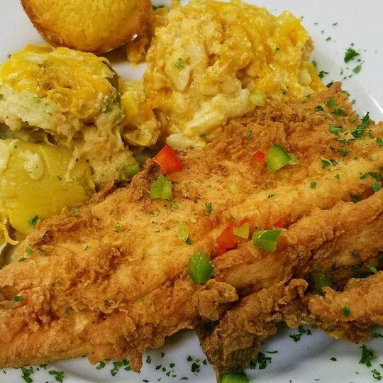 Fried trout, squash casserole