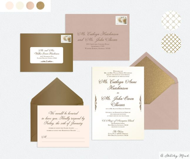 A classic, traditional wedding invitation suite featuring a rose gold color scheme, with antique...