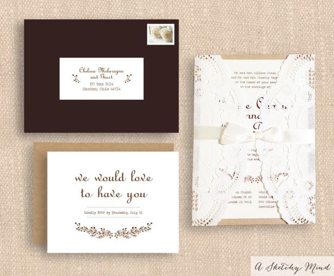A Romantic, Shabby Chic Wedding Invitation Suite with a unique vintage touch. Invitations feature...