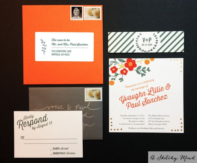 A romantic, bohemian chic wedding invitation suite featuring an orange, green, gray and white color...
