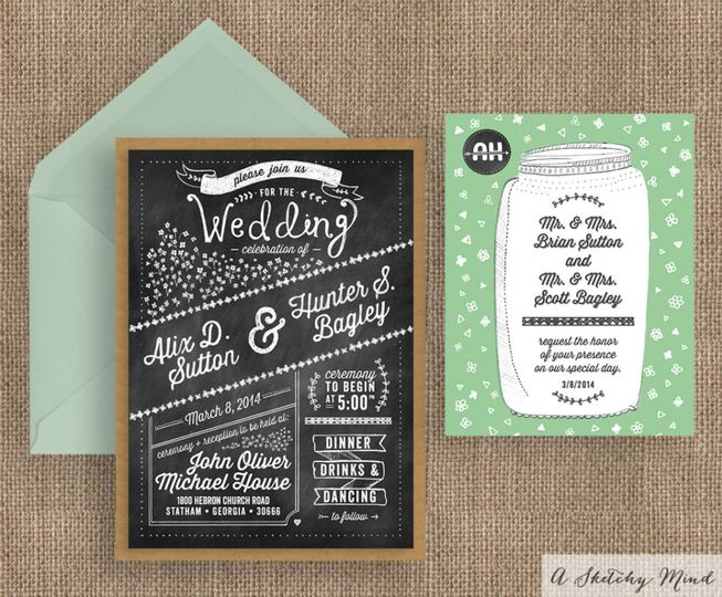 A rustic chalkboard style wedding invitation suite featuring a mason jar illustration, kraft...