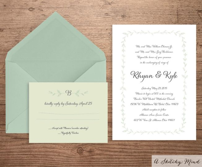 This Classic Bohemian Chic Wedding Invitation Suite features a simple mix of spring greens and...