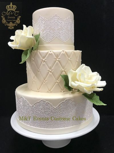 elegant wedding cake with white lace and sugar flowers