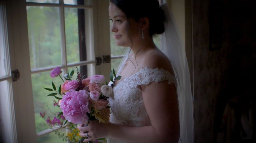Beautiful bride awaits the ceremony in Brevard, NC.
