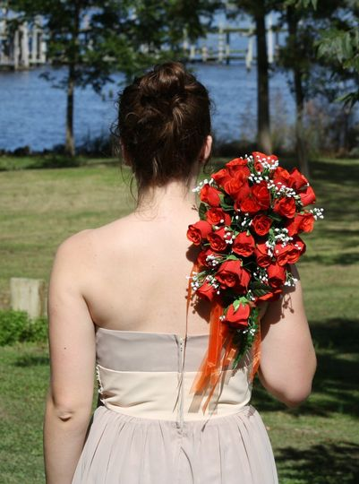 Small Red rose Cascading Bouquet, choose from 21 color rose buds $75
