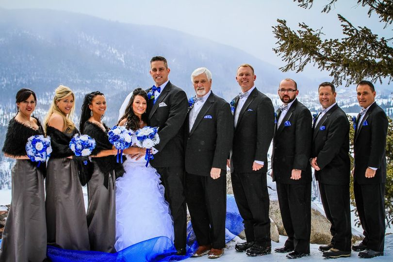 Our Beautiful Colorado Destination Bridal Party, with our custom designed snowy bridal bouquet,...