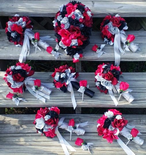 1 Cascading Bridal Bouquet Red, Black, Silver Roses with Silver, Red, Black accent flowers. $100  6...