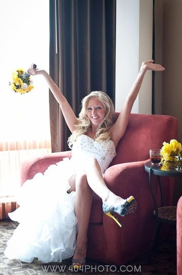Our beautiful April Bride married in Las Vegas, with our custom Bridal Bouquet yellow white...