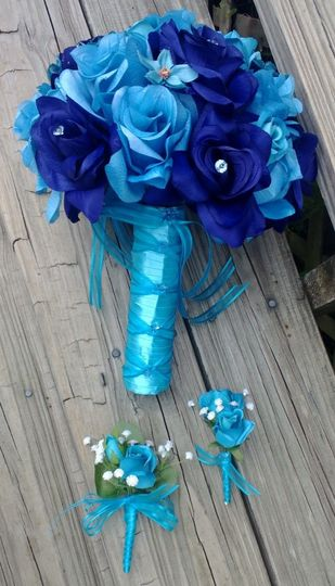Silk Bridal Bouquet Blue Roses & Turquoise Roses...
