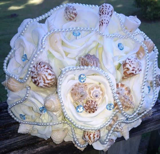1 8in Round Ivory real touch rose Bridal Bouquet, with more than 20 new shells, pearl accents, light...