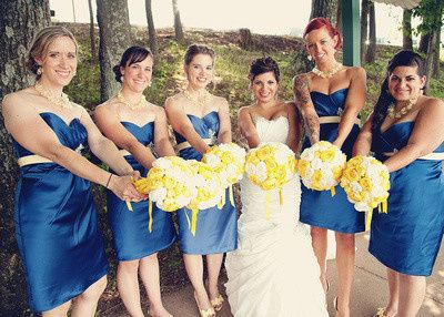 Our Beautiful Bridal Party, June Lakeside Pennsylvania Wedding, Custom Bouquets, Yellow & White...