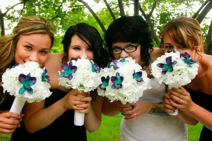 Beautiful Real Touch White Hydrangeas with Sonia Blue Orchids Wedding Bouquets. Thank you to Our...