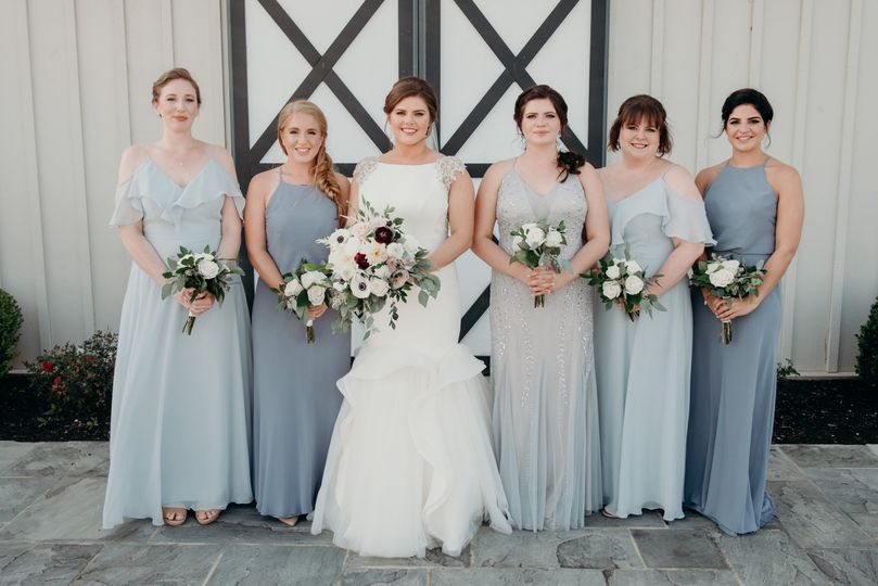 Blue themed bridal gowns