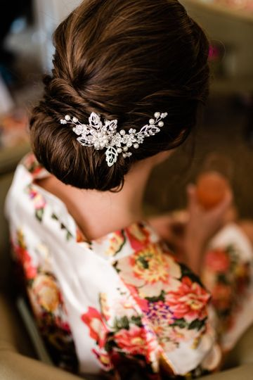 Bridal hair accessory in updo