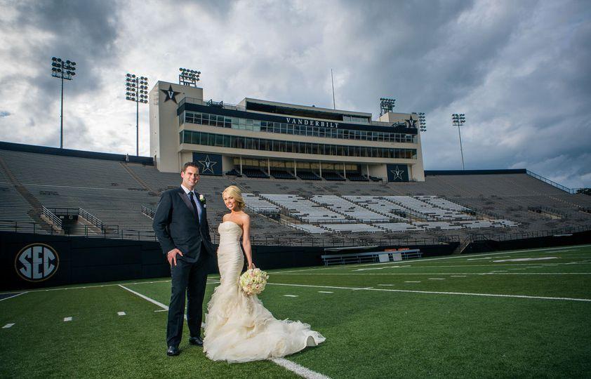 Bride and Groom Portrait at Vanderbilt Stadium