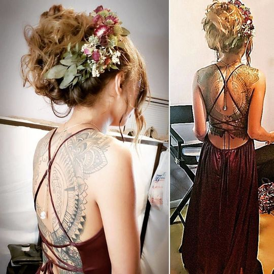 Backless dress and floral headpiece