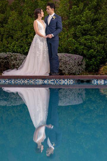 Bride & Groom - Pool