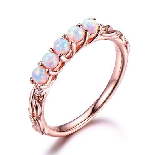Opal silver wedding band