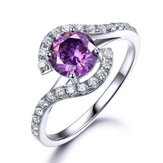 Silver amethyst engagement ring