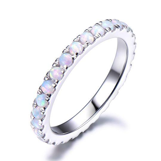 Opal silver weddding ring