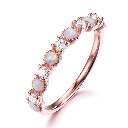 Opal and cz wedding band