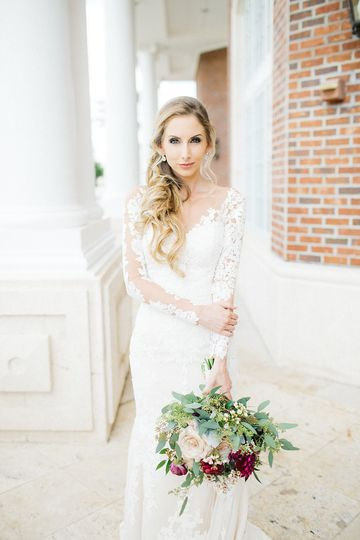 Sleeved bridal gown