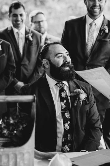 A gleaming groom