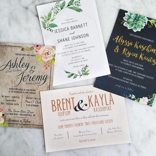 Variety of custom designed invitations.