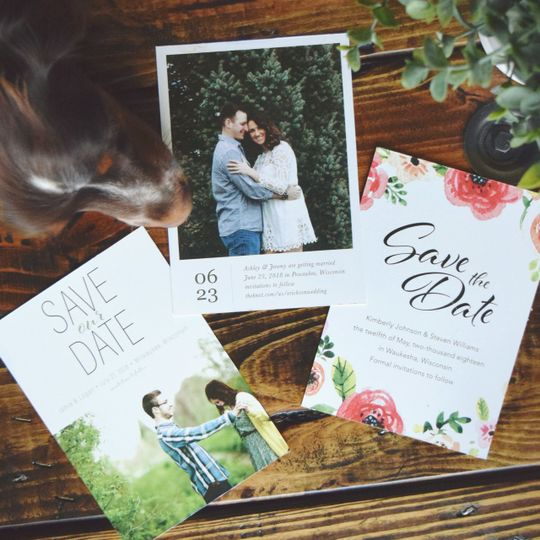 Variety of custom designed save-the-dates.