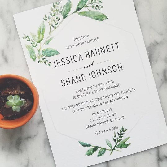 Custom designed Spring wedding invitation.