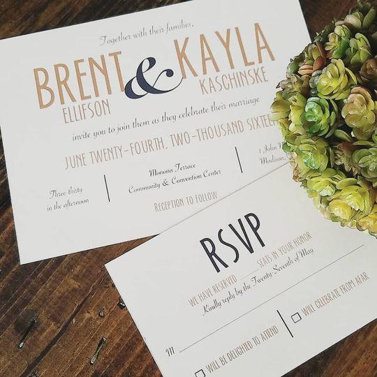 Custom designed wedding invitation and RSVP card.