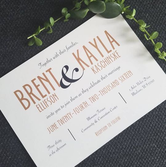 Use of typography on custom designed wedding invitation.
