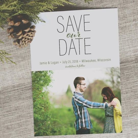 Custom designed Save Our Date card.